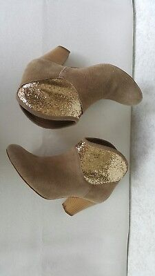 Bonbons boho Leather booties. Size 39 Tan suede and gold glitter colour block.