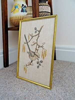 Vintage Long Tailed Tit Garden Bird Cross Stitch Needlepoint Picture Framed Cute