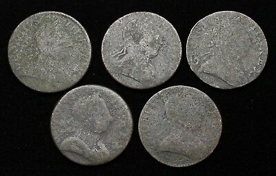Lot of 5 Halfpenny, non-regal Evasion issues of George III