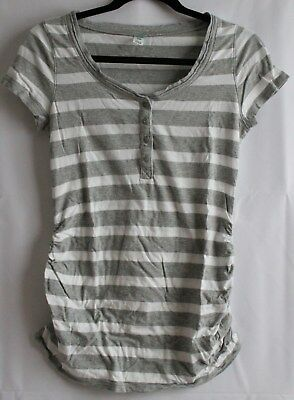 Old Navy Maternity Womens Size S Gray/White Striped Short Sleeve T-Shirt Henley