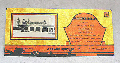 Vintage Shell Gas Station Advertising Blotter with B & W Photo & Gold Leaf