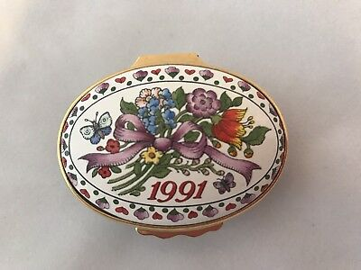 """Halcyon Days Enamel Trinket Box 1991 """"A Year To Remember""""  Made in England  EUC"""