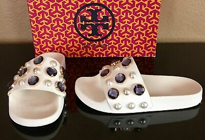 691e3decf5ab TORY BURCH VAIL Embellished Sandals Slides Logo Shoes White Size 6 ...
