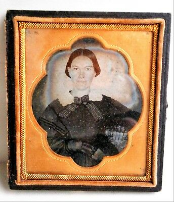 19th Century 6th Plate Ambrotype of Woman with Gloves