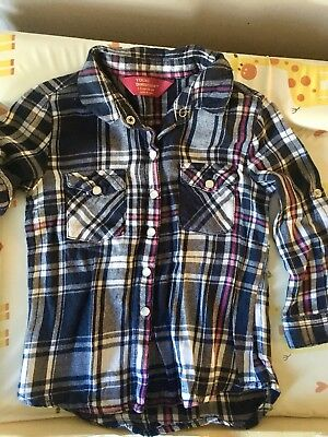 Primark Shirt Navy Blue Checked 18-24m Long Or Short Sleeve Young Dimension