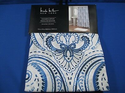 Nicole Miller Floral Medallion Fabric Shower Curtain Melina Blue Cotton New