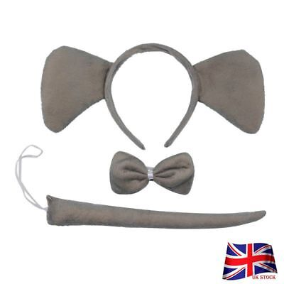 Animal Ears Headband Tie and Tail Set Cosplay Costume Gift For Childern US
