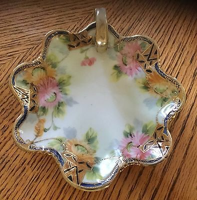 Antique Nippon Candy/Trinket Dish, Hand Painted Porcelain, Gold Trim, 6""