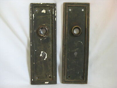 antique door plates pair skeleton key type old metal rectangular plate hardware
