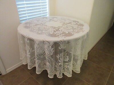 """Vintage Floral Lace Round Tablecloth 68"""" Round Natural  Made In Usa"""