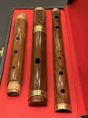 """IRISH WOODEN ROSE WOOD """"D"""" FLUTE WITH TUNING SLIDE AND CASE, 4 Part, 26"""" SIZE"""