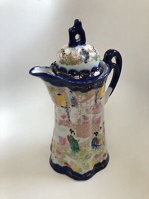 FINE Vintage Nippon Hand Painted Blue Geisha Porcelain Chocolate Pot Japan