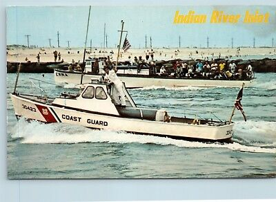 Postcard CT Indian River Inlet Emma Fishing Boat US Coast Guard Boat F27