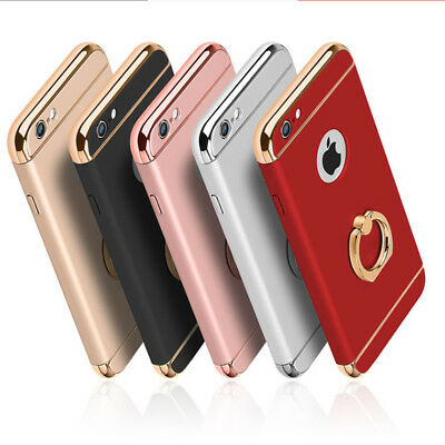 For iPhone 6 6s 7 8 Full Body Hybrid Shockproof Case Cover with Gold Ring holder