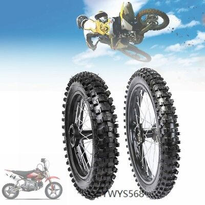 Front&Rear Tyre Set 1.6*17&1.85x14 15mm Axle Knobby Wheel Rim Tire for Pit Bike