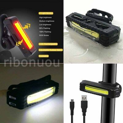LED Bicycle Bike Cycling Front Rear Tail Light USB Rechargeable 6 Modes Lamp AU