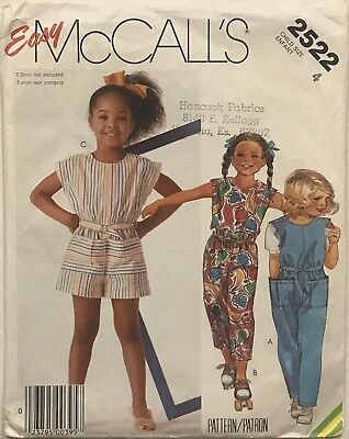 VTG McCall's 2522 Children's Jumpsuit Sewing Pattern Size 4