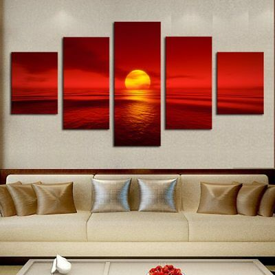 Red Sun in Ocean Sea Natural Landscape 5 pieces Canvas Wall Poster Home Decor
