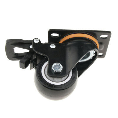 2.5'' Table Chair PU Flat Industrial Caster Wheel Dual Brake Single Bearing