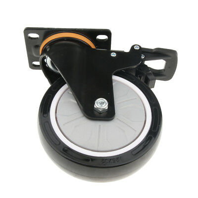 Home Office Table PU Flat Industrial Caster Wheel Dual Brake Single Bearing