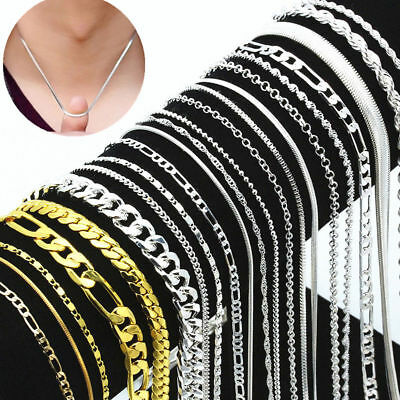 Wholesale 925 Silver Plated Chain Women Men Necklace 16''-30'' New Lot Jewelry