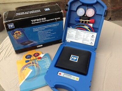 New TIF COMPACT REFRIGERANT SCALE in Case & Box TIF9035 portable MANIFOLDS Hoses
