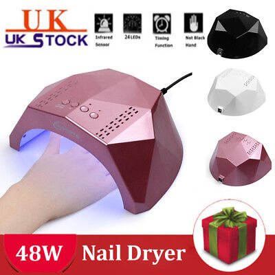 UK 48W LED UV Nail Polish Dryer Nail Lamp Light For Gels With 3 Timers 24 Leds