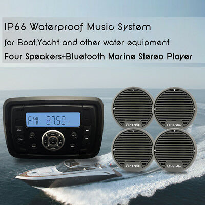 "Marine Bluetooth MP3 Player Motorcycle Stereo Radio+3"" Boat Hot Tub Speakers"