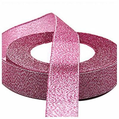 22 Metres 25mm Double Sided Satin Glitter Ribbons Bling Bows Reels Wedding R3E4
