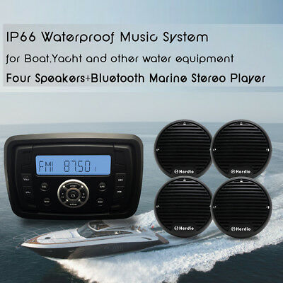 "Marine Boat Bluetooth MP3 Player Motorcycle Stereo Radio+3"" Boat  Speakers"