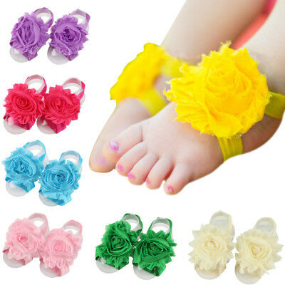 Baby Toddler Girls Cute Chiffon Flower Foot Band Elastic Barefoot Accessories
