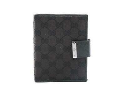 740333b31d2 AUTHENTIC GUCCI WEB Black GG Logos Pattern Agenda Notebook Cover ...