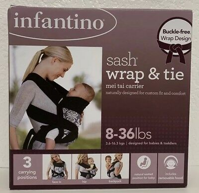 7281b81d3ad Infantino Baby Sash Wrap and Tie Infant Toddler Carrier Mei Tai Style  8-36lbs