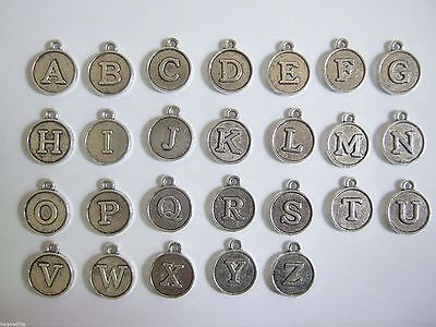 Antique Silver Alphabet Letters Charm Round Bead Mini Earring Pendants Finding