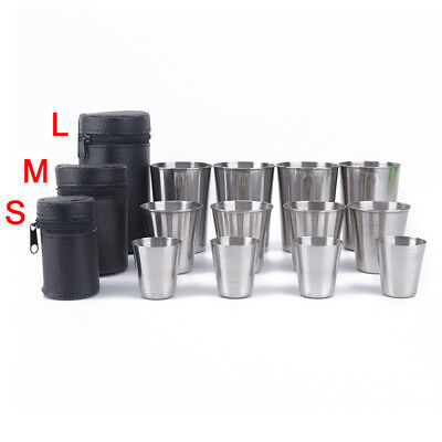 4pcs Stainless Steel Cover Mug Camping Cup Drinking Coffee Tea Beer With Case.