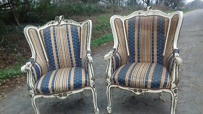 Beautiful Matching Pr Large French Carved Detail Antique 19Thc Bergere Chairs