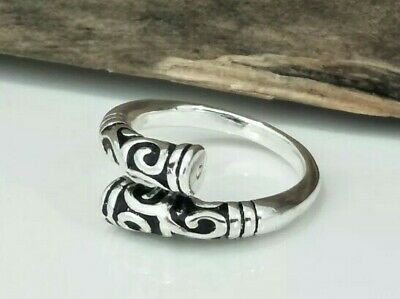 Viking Norse Pagan Celtic Designed Adjustable Ring Silver S925 Size 9 R1/2