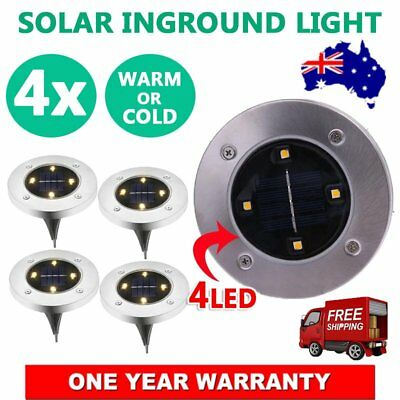 Solar Powered 4 LED Buried Inground Recessed Light Garden Outdoor Deck Path