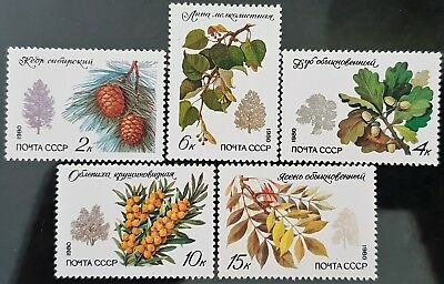 Russia 1980 Sc # 4871 to Sc # 4875 Flowers Mint MNH Stamps Set