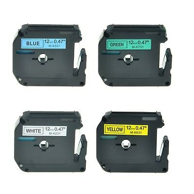 """4PK MK 231 531 631 731 Label Tape for Brother P-Touch PT-65VP Printer 12mm 1/2"""""""