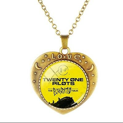 Twenty One 21 Pilots Trench the Bandito Tour Glass Dome Necklace Yellow