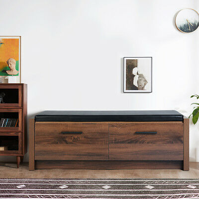 115cm Antique Style Storage Bench with2 Drawers Shoe Cabinet with  Seat Cushion