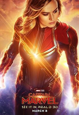 "Captain Marvel Poster 48x32"" 36x24"" 21x14"" Movie Brie Larson 2019 Art Print Silk"