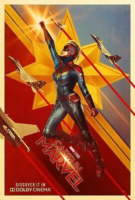 "Captain Marvel Poster 48x32"" 36x24"" 21x14"" Movie Brie Larson 2019 Print Silk Art"