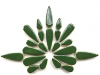 Dark Green Ceramic Teardrops - Mosaic Tiles Supplies Art Craft