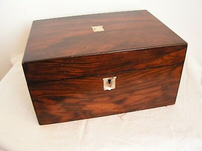 Antique Victorian Walnut Jewellery Sewing Box Mother Of Pearl Embellishment