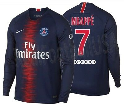 Nike Kylian Mbappe Paris Saint-Germain Psg Long Sleeve Home Jersey 2018/19