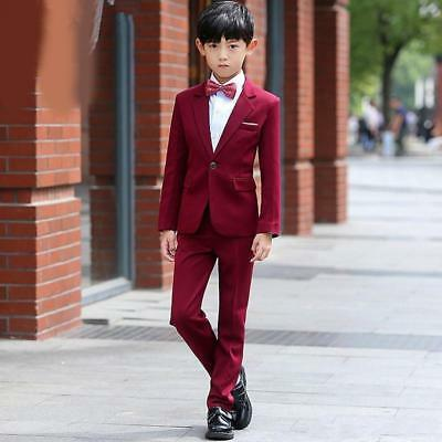 New Burgundy Wedding Flower Boys Suits Page Boy 2 Piece Dinner Party Tuxedos