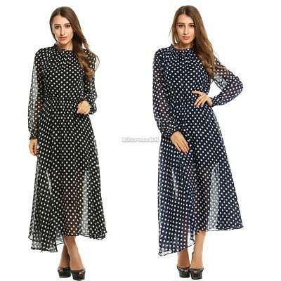 Frauen Chiffon O-Neck Long Sleeve Polka Dots lange Maxi Party ElR8 02