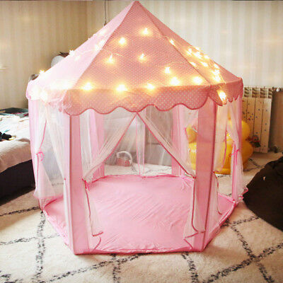 Kids Toddler Princess Castle Girl Playhouse Play Indoor Tent With Led Star Light